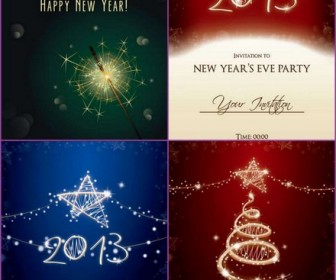 Four beautifully the 2013 New Year's greeting card vector background material